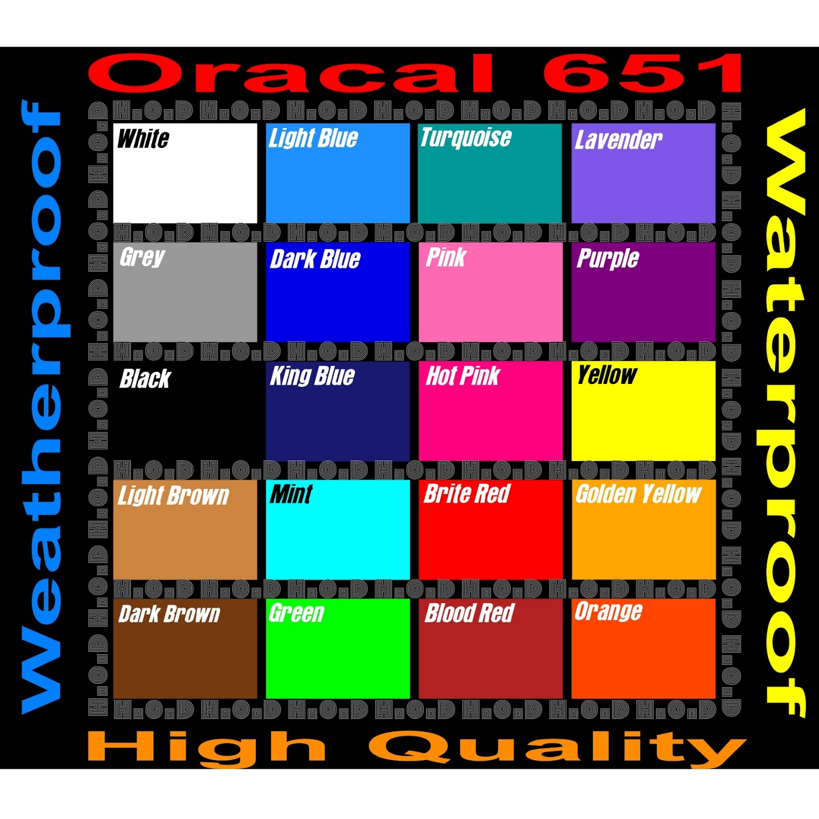 Certified Dr Plotter For Oracal vinyl decal: Color Chart