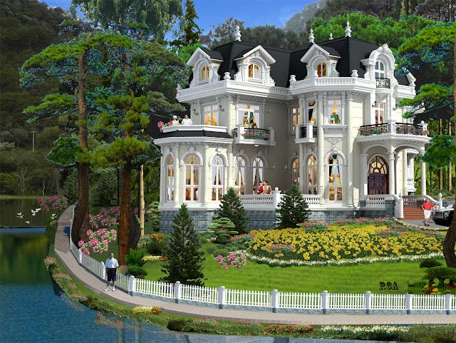 gach bong-BT1110715 Thiết kế biệt thự cổ điển - Phong cách và xu hướng hiện nay