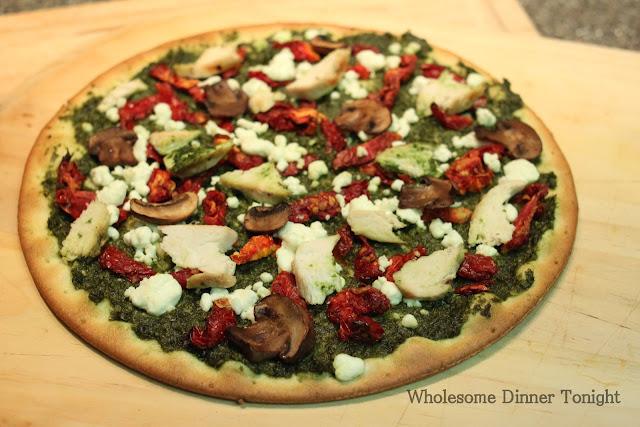 Wholesome Dinner Tonight: Chicken Pesto Pizza with Sun ...