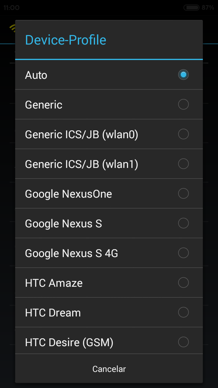 WifiTether ventana opciones