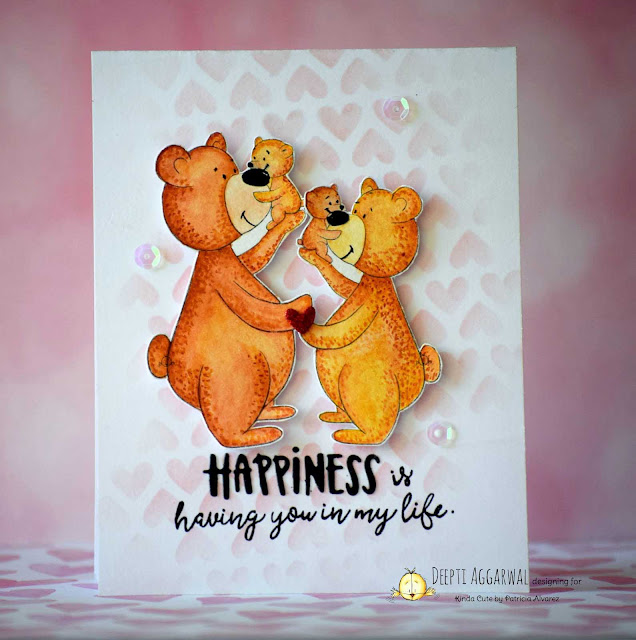 love card using papa bear and baby digital stamp