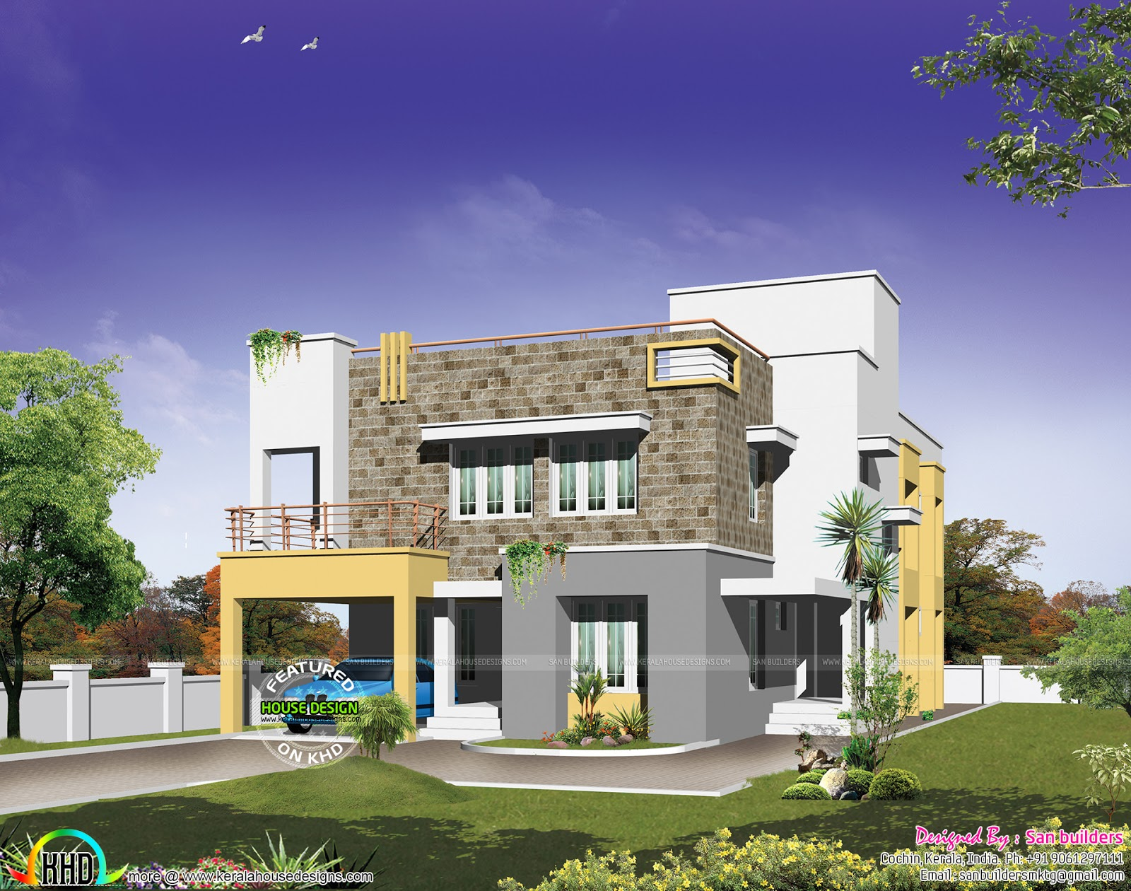 Modern home plan in 500 sq yd kerala home design and for Home design 500 sq yard