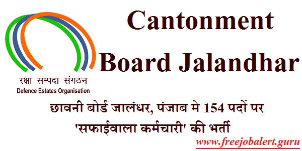 Cantonment Board Jalandhar Admit Card Download