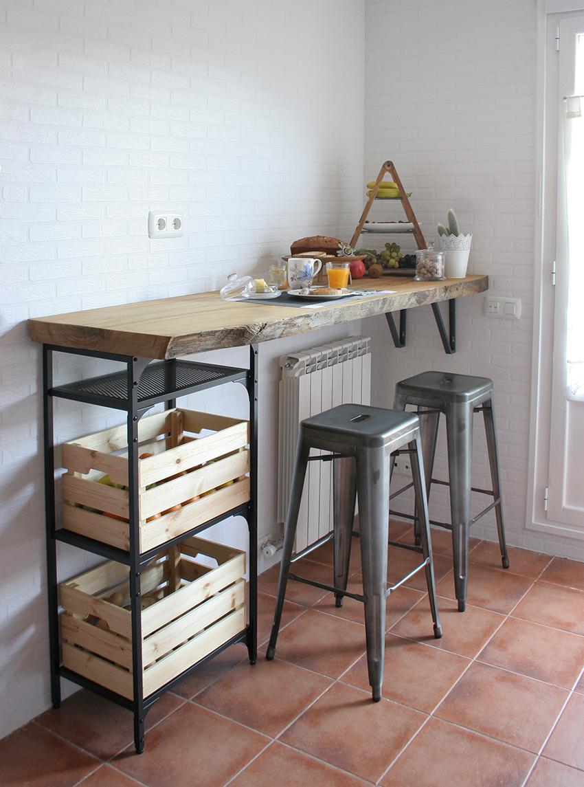 Diy barra de madera raw para nuestra cocina decorar en for Barra cocina madera