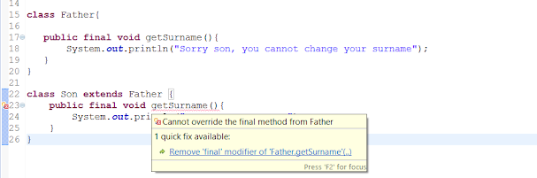 Final class, method and variable example in Java