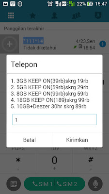 cara paket internet three keep on murah