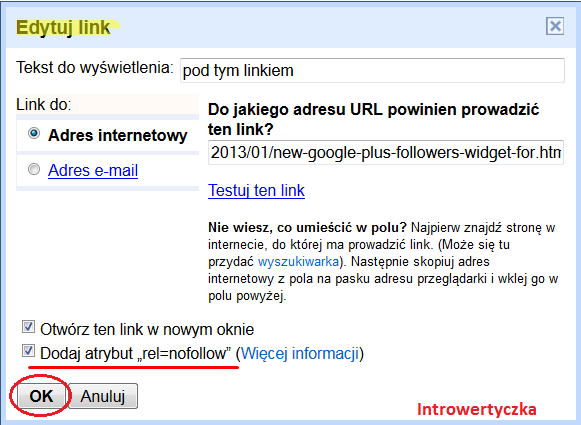 "Blogger - Dodaj atrybut ""rel=nofollow"""