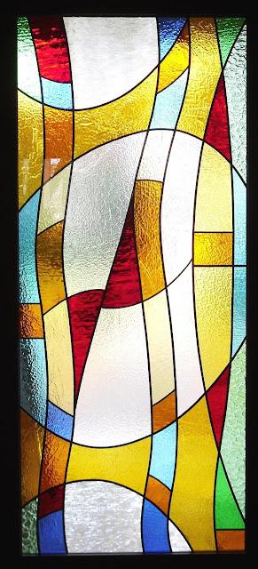 vitrail porte d'entrée inséré dans un vitrage isolant