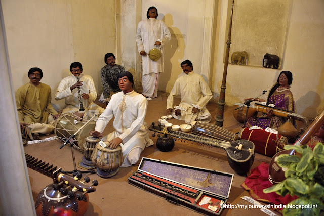 Indian Musical instruments display at Wax Museum at Mysore