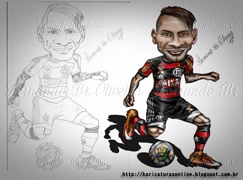 Esboço e arte final da Caricatura de Paolo Guerrero 2016,Jogador Atualmente do Clube Brasileiro Flamengo