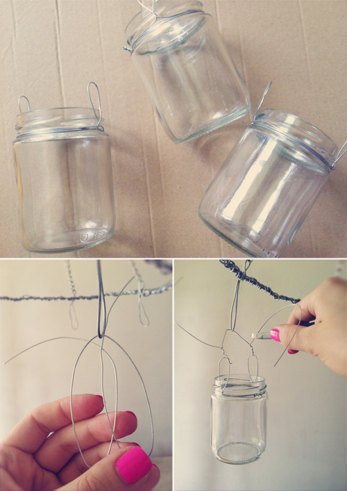 Ioanna's Notebook - DIY Jar chandelier