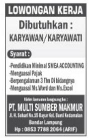Bursa Kerja Lampung : bursa, kerja, lampung, Lowongan, Kerja, Lampung, Multi, Sumber, Makmur