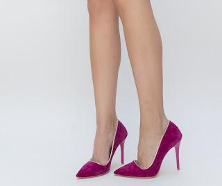 Pantofi Roso Mov din piele intoarsa cu toc, de seara