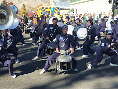 The Carson High School Blue Thunder Marching Band performing at Nevada Day Parade