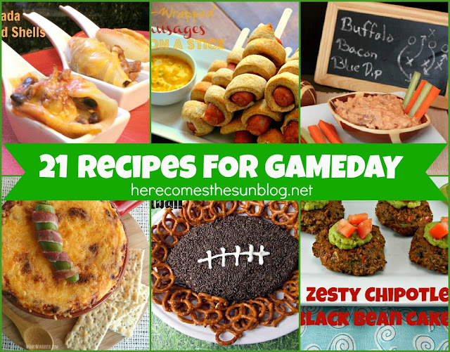 21 Recipes for Gameday from herecomesthesunblog.net #football #recipes