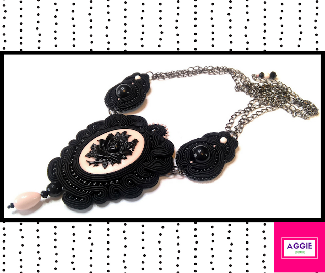 noir romantic soutache gothic black necklace rose