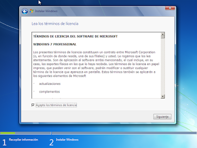 terminos y condiones windows 7