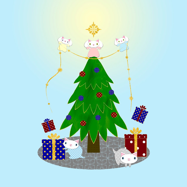 kitten angels and kittens in pajamas around the christmas tree illustrations by ssstephg
