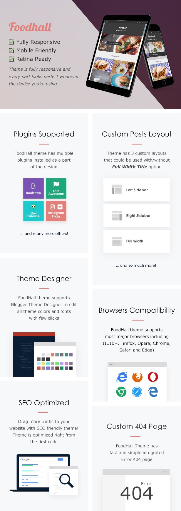 FoodHall Responsive Food Blogger Theme Features