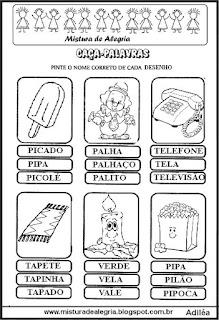 Caça-palavras com nomes de objetos
