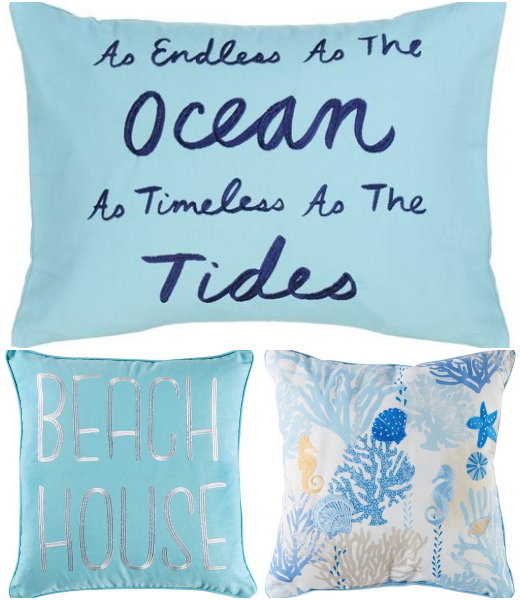 Blue Decorative Beach Theme Throw Pillows