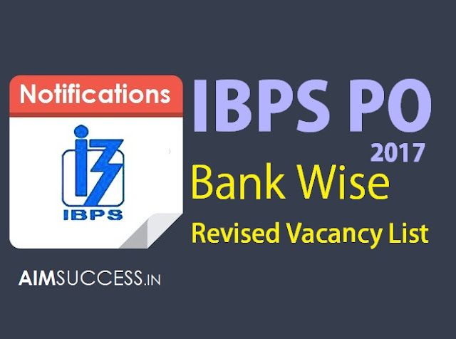 IBPS PO Bank Wise Revised Vacancy List 2017