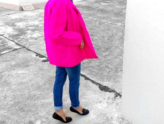 hot pink peacoat , blue denim