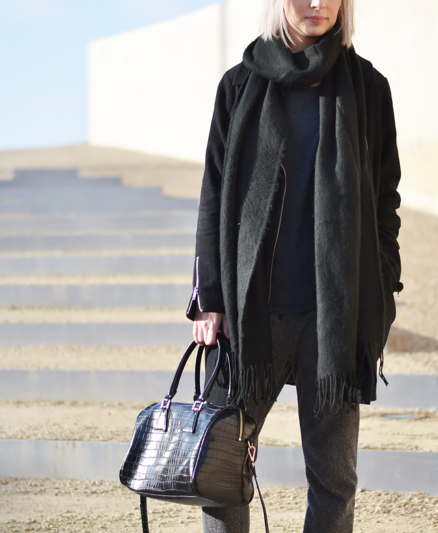 Belgian location, mango embossed crocodile bag, topshop scarf, detail shot, primark