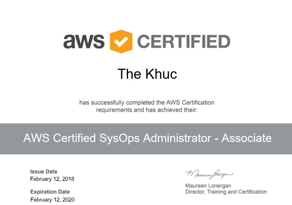 Tc Khucs Blog Aws Certified Sysops Administrator