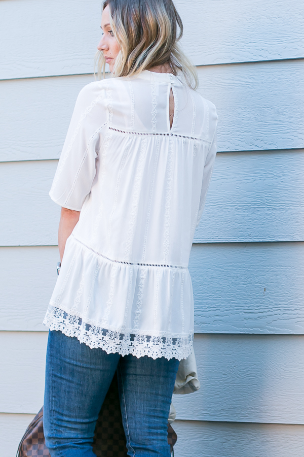 white tunic top with lace bottom