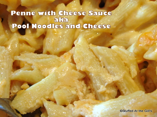 Close up picture of Penne with Cheese Sauce aka... Pool Noodles and Cheese.