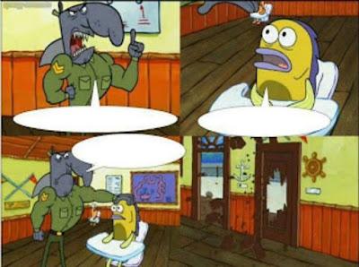 Kumpulan gambar Polosan Meme Spongebob - Guru yang seram