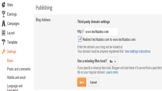 setting up a domain name on blogger