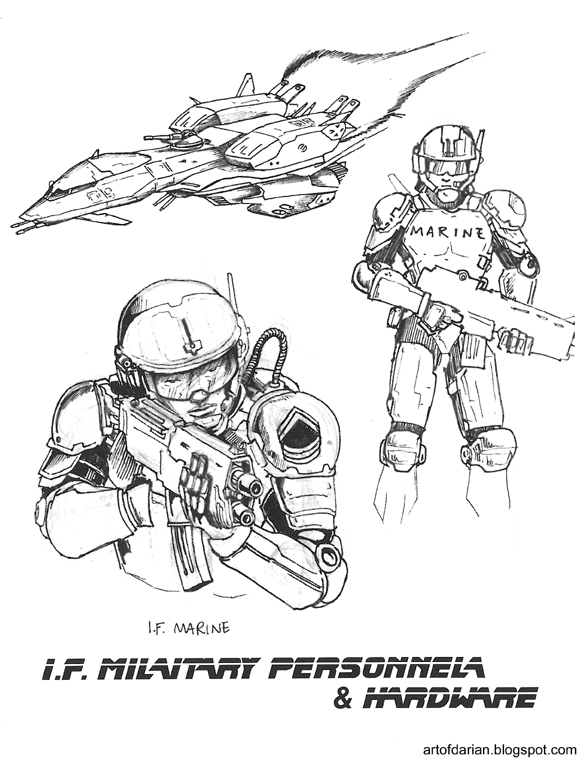 Art of Darian: More old Ender's Game Work-Formics and Marines