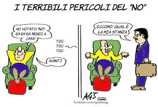 renzi, renzi a casa, referendum, no, riforma costituzionale, satira. vignetta