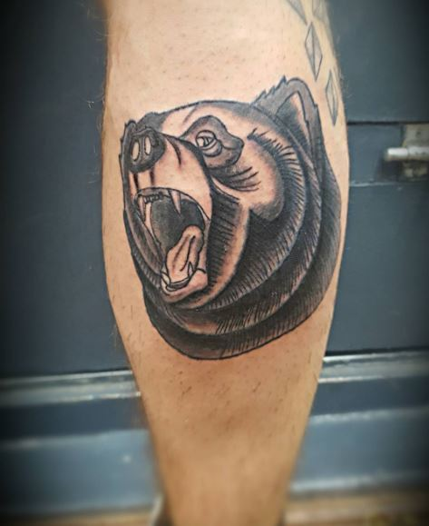 a757fd9ae Another cool bear tattoo design would be to opt for blackwork bear tattoo  where the whole tattoo is inked using solid black and thick ink.