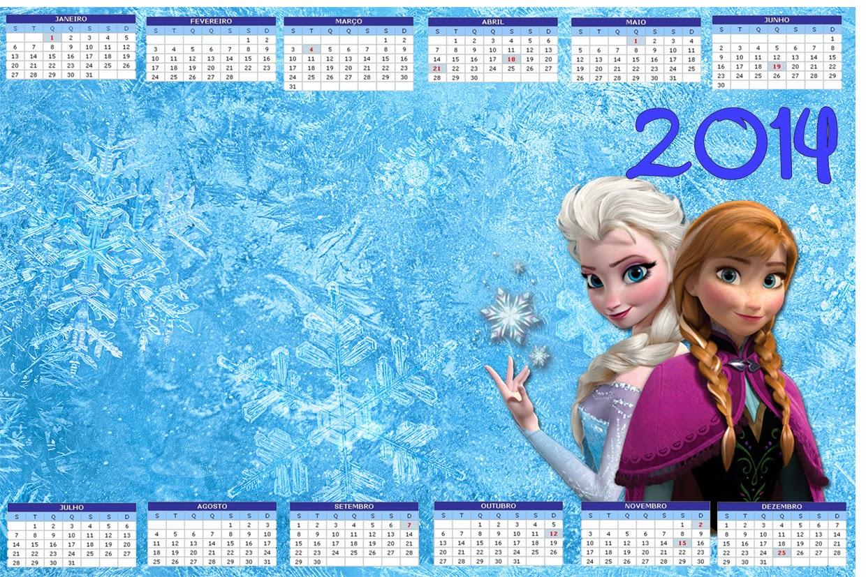 Calendario 2014 para Fiestas de Frozen.