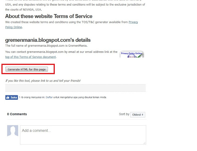 Atau jika Sobat pengen copy versi HTML nya. Sobat geser kebawah kemudian klik Generate HTML For This Page.