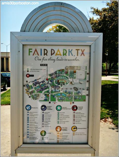 Mapa con los Puntos de Interés y Atracciones del Fair Park de Dallas