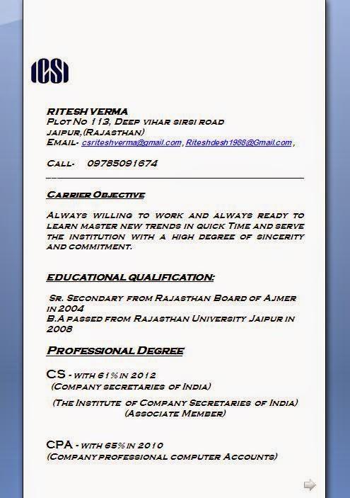 Download Resume Format For Company Secretary Freshers – Secretary Resume Format