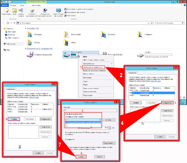 Windows 2012 R2: Configurar instantáneas de volumen.