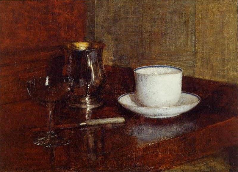 Vidro, Cálice de Prata e de Copa do Champagn - Henri Fantin-Latour - Suas melhores pinturas ~ francês