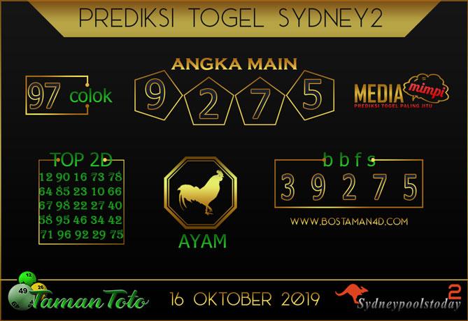 Prediksi Togel SYDNEY 2 TAMAN TOTO 16 OKTOBER 2019