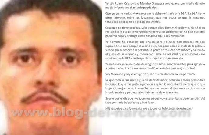 "Carta de Rubén Oseguera Cervantes, ""El Mencho"", líder del CJNG a la Nación"