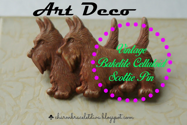 Vintage Bakelite/Celluloid Scottie Pin