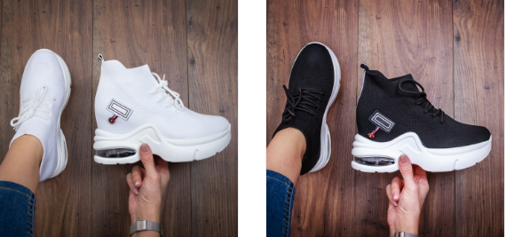 Adidasi cu platforma inalta moderni albi, rosii de calitate superioara