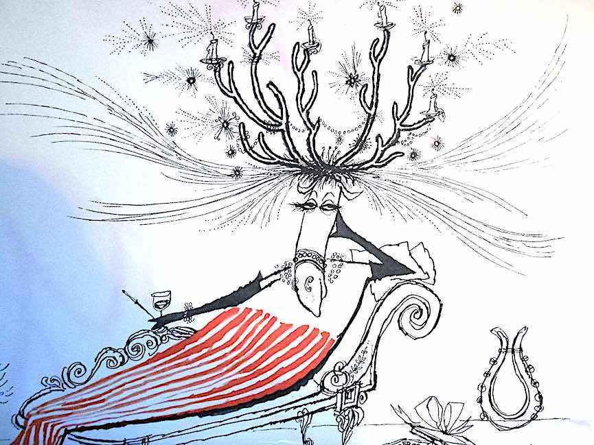 a Ronald Searle drawing of an alluring reindeer on a chaise lounge