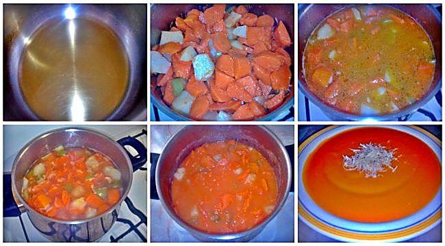 Preparación de la crema de zanahorias y calabaza