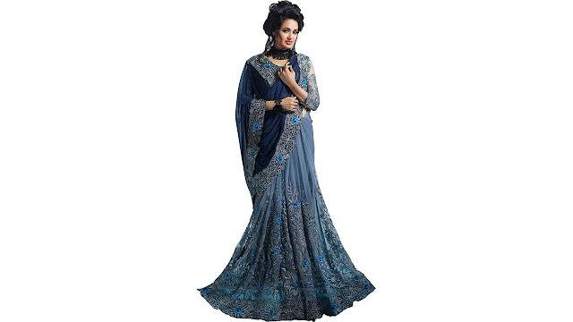 Vastrangam Embroidered Bollywood Georgette, Net Saree  (Grey)