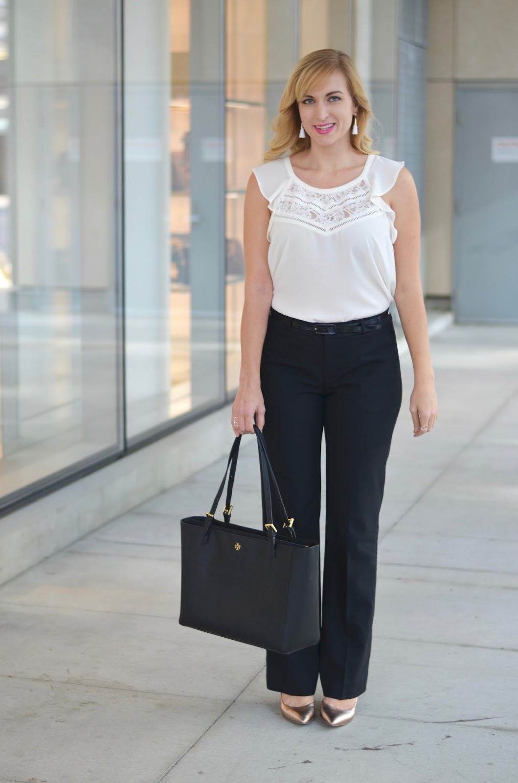 Classic Work Outfit Idea Black Pants White Top Rose Gold Accessories